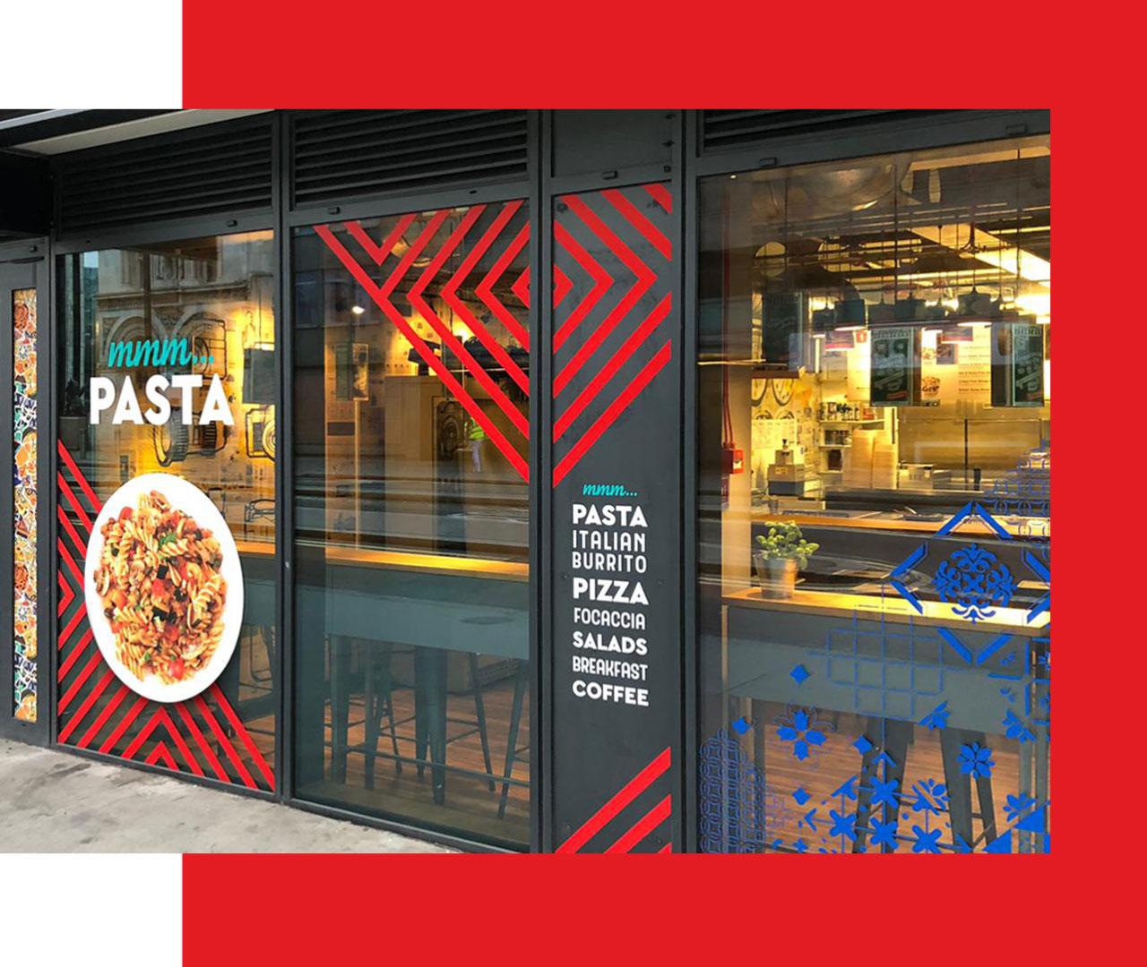 Window vinyls of Beboz the Italian food cafe in London