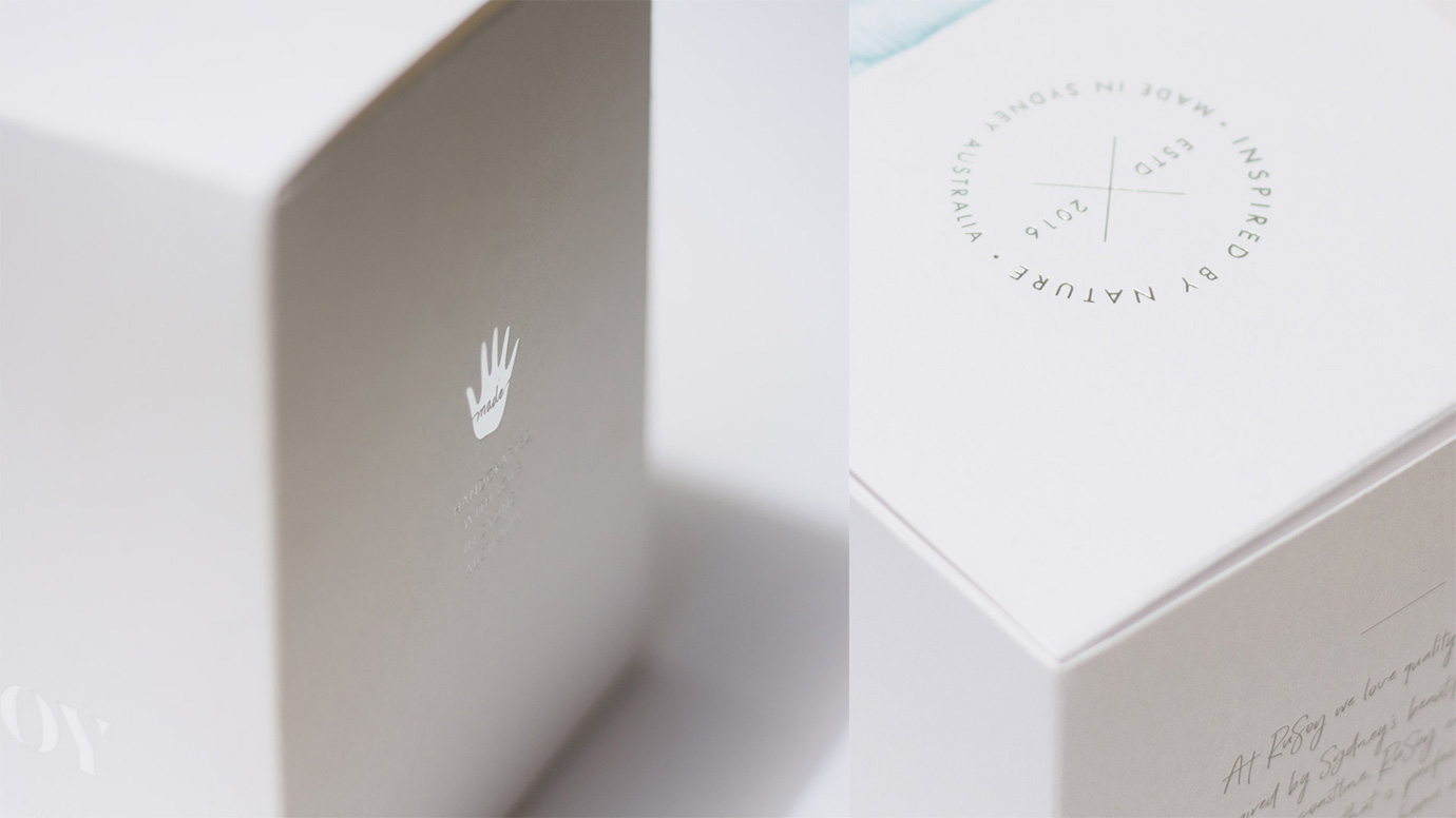 RuSoy candle packaging - zoomed in details
