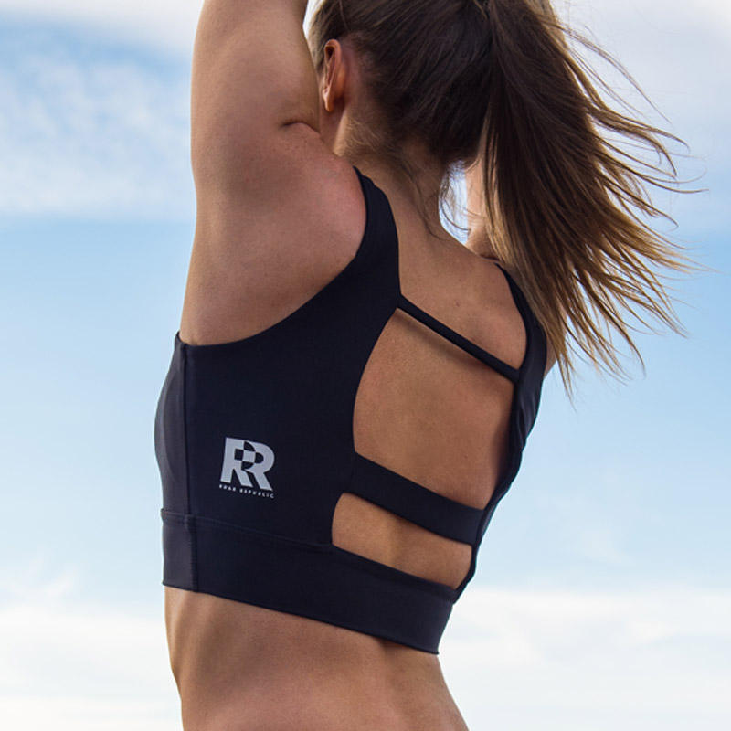 Sports Bra with the Roar Republic logo